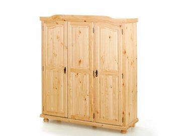 Šatní skřín třídveřová -borovice masiv lakovaná