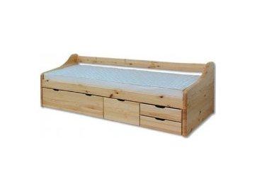Dřevěná masivní postel LK131 s úložným prostorem 90x200 cm