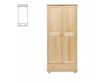 Dřevěná masivní šatní skřín se šuplíkem  KIK 102