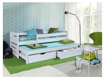 Dětská postel  Thomas s úložným prostorem ,přistýlkou a zábranou bílá 180x80 cm