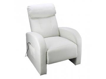 Luxusní relaxační a masážní křeslo Toledo bílé SKLADEM