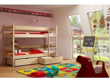 Patrová postel KIK-P002 90x200 cm s úložným prostorem borovice masiv lakovaná