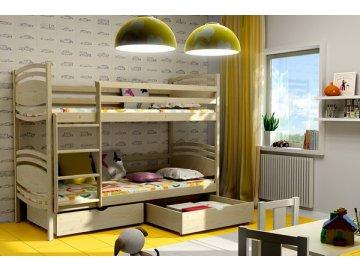 Patrová postel KIK-P001 90x200 cm s úložným prostorem borovice masiv lakovaná