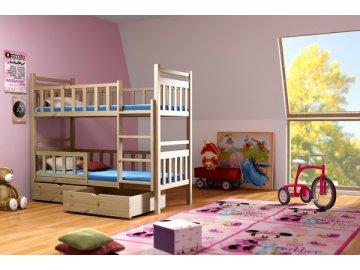 Patrová postel KIK-P009 90x200 cm s úložným prostorem borovice masiv lakovaná