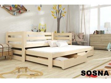 Dřevěná postel KUBÍK 190X90cm s přistýlkou a úložným prostorem se zábranou borovice masiv