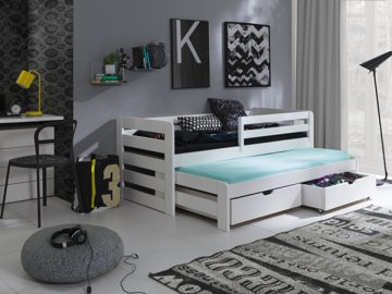 Dřevěná postel L-Senzus 190X90cm s přistýlkou a úložným prostorem se zábranou borovice masiv BÍLÁ