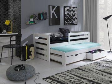 Masivní postel L-Senzus 90x200 cm s přistýlkou a úložným prostorem se zábranou borovice masiv BÍLÁ SKLADEM