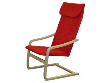 Křeslo relaxační dřevěné - červené SKLADEM