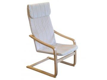 Křeslo relaxační dřevěné  - béžová - SKLADEM