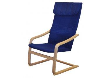 Křeslo relaxační dřevěné -  modré SKLADEM