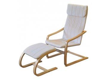 Křeslo relaxační  dřevěné s  podnožkou - béžová