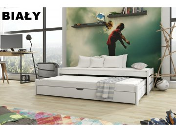 Dřevěná postel ANDREAS 190X90cm s přistýlkou a úložným prostorem borovice masiv BÍLÁ