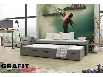 Dřevěná postel ANDREAS 200X90cm s přistýlkou a úložným prostorem borovice masiv GRAFIT