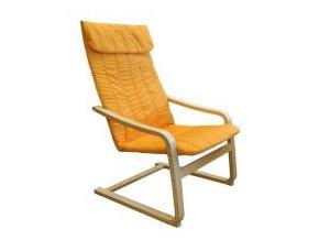 Křeslo relaxační dřevěné -  oranžové