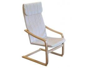 Křeslo relaxační dřevěné  - béžová-SKLADEM