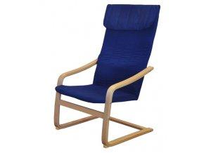 Křeslo relaxační dřevěné -  modré