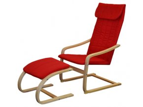 Křeslo relaxační dřevěné s  podnožkou - červené