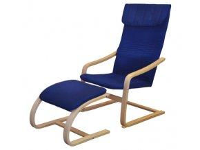 Křeslo relaxační dřevěné s  podnožkou - modré