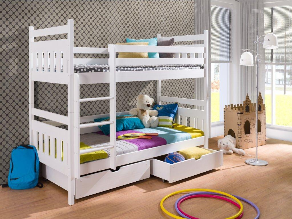 Detská poschodová posteľ Adam 180x80 cm s úložným priestorom borovica masív