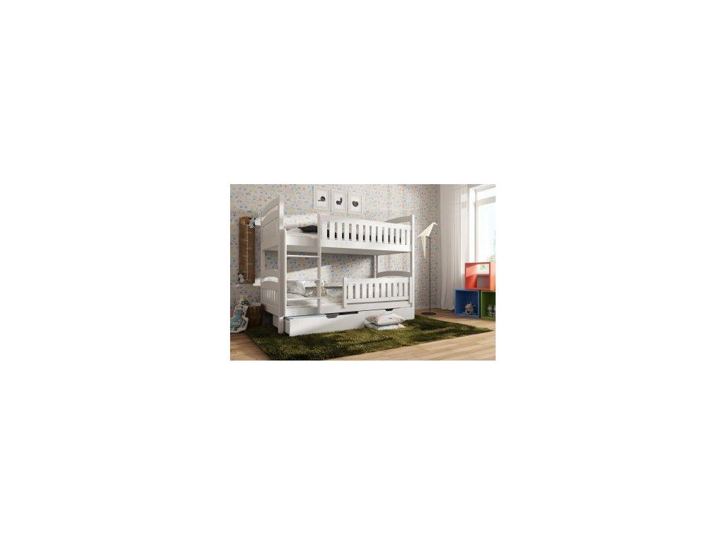 Poschodová posteľ Ignace 180x80 s úložným priestorom borovica masív