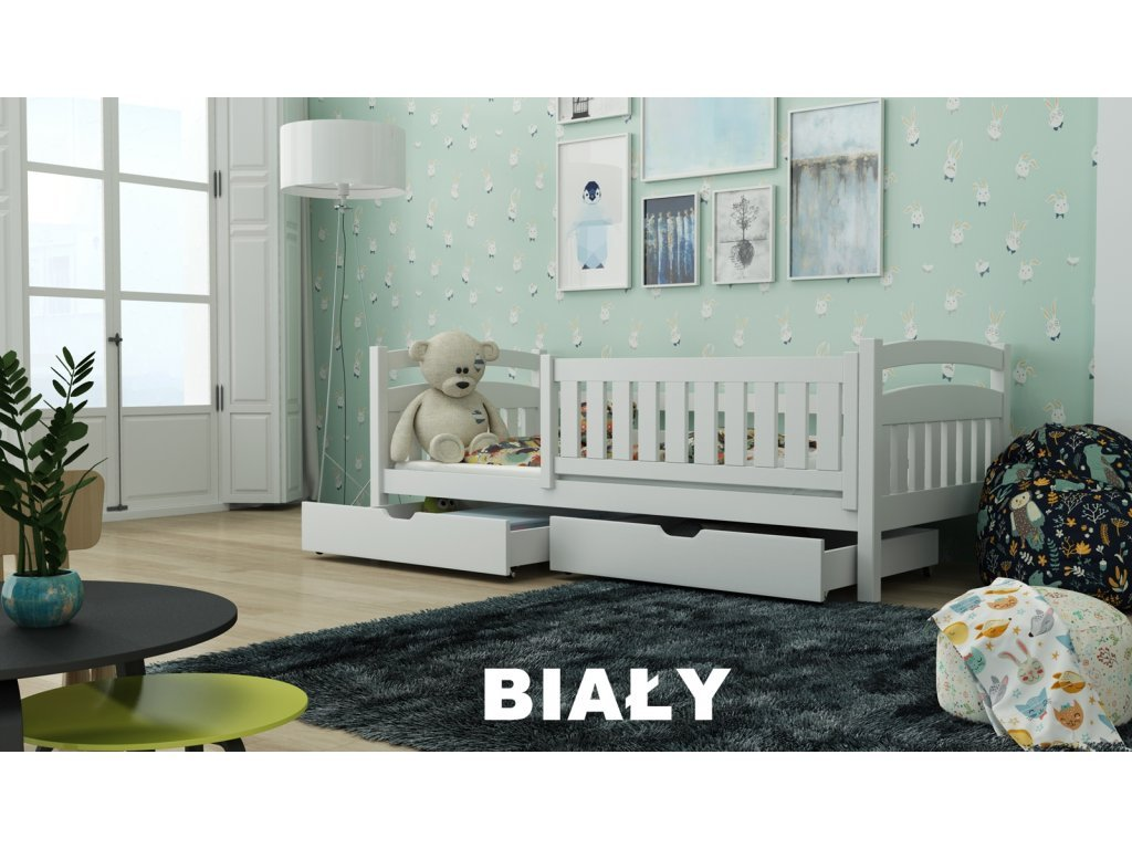 Drevená posteľ Terry190x90 cm s úložným priestorom masív BIELA
