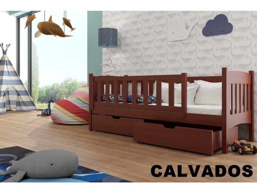 Drevená posteľ Terry190x90 cm s úložným priestorom odtieň calvados