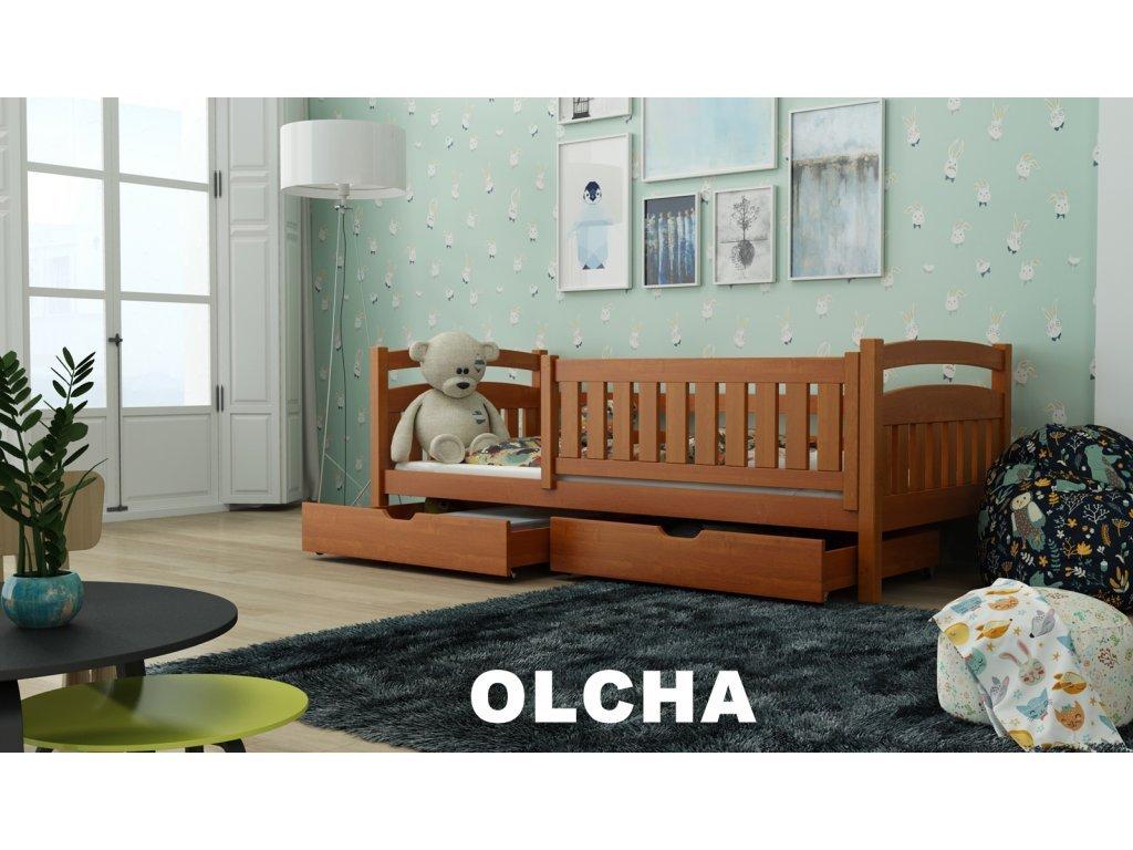 Drevená posteľ Terry190x90 cm s úložným priestorom odtieň jelša