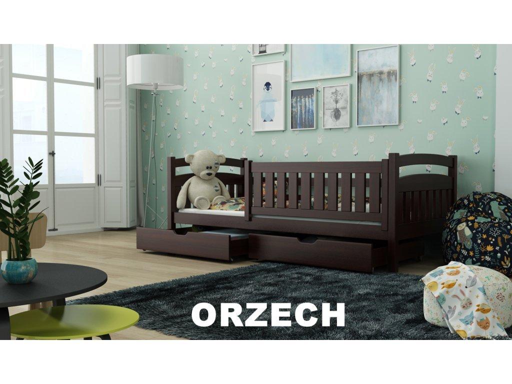 Drevená posteľ Terry190x90 cm s úložným priestorom odtieň orech