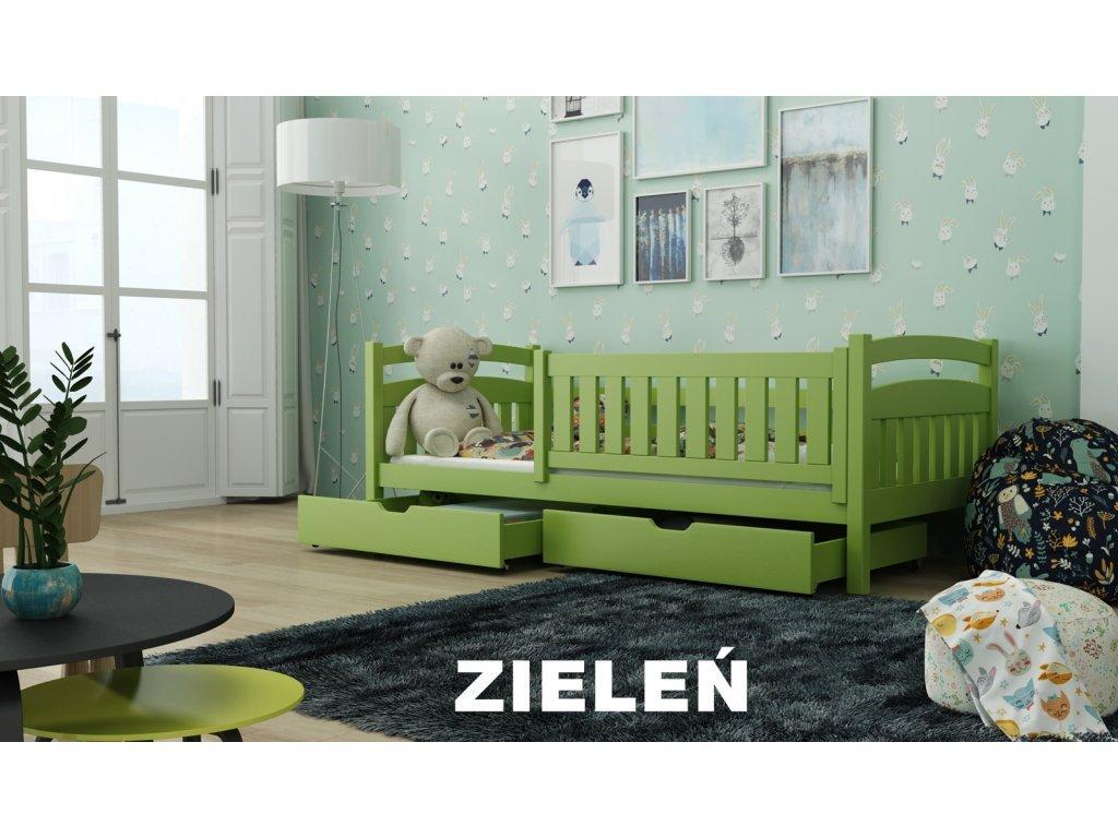 Drevená posteľ Terry190x90 cm s úložným priestorom odtieň zelená