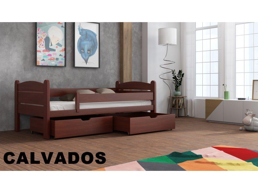 Drevená posteľ s úložným priestorom Matěj 90x190 cm masív-odtieň calvados