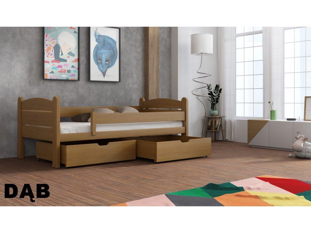 Drevená posteľ s úložným priestorom Matěj 90x190 cm masív-odtieň dub