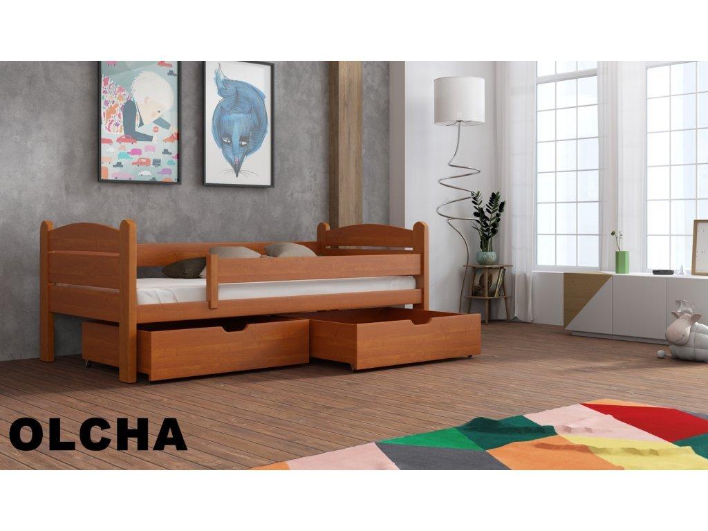 Drevená posteľ s úložným priestorom Matěj 90x190 cm masív-odtieň jelša