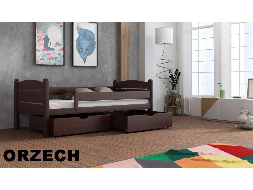 Drevená posteľ s úložným priestorom Matěj 90x190 cm masív-odtieň orech