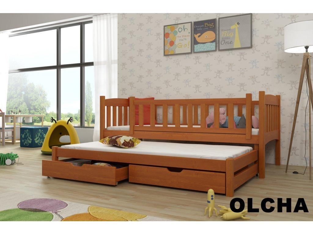 Drevená posteľ AMÁLKA 190X90cm s prístelkou a úložným priestorom so zábranou borovica masív BUK