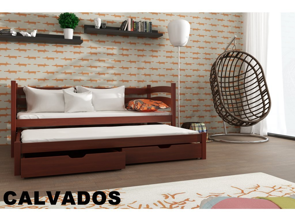 Drevená posteľ TOSIA 190X90cm s prístelkou a úložným priestorom masív CALVADOS