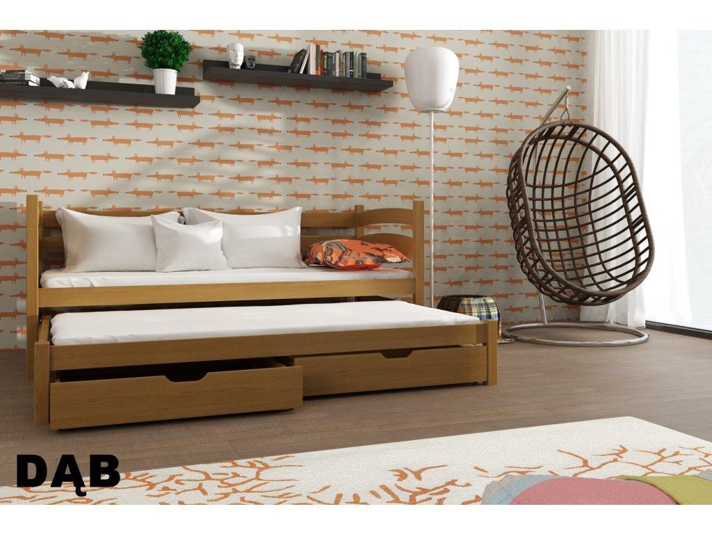 Drevená posteľ TOSIA 190X90cm s prístelkou a úložným priestorom masív DUB
