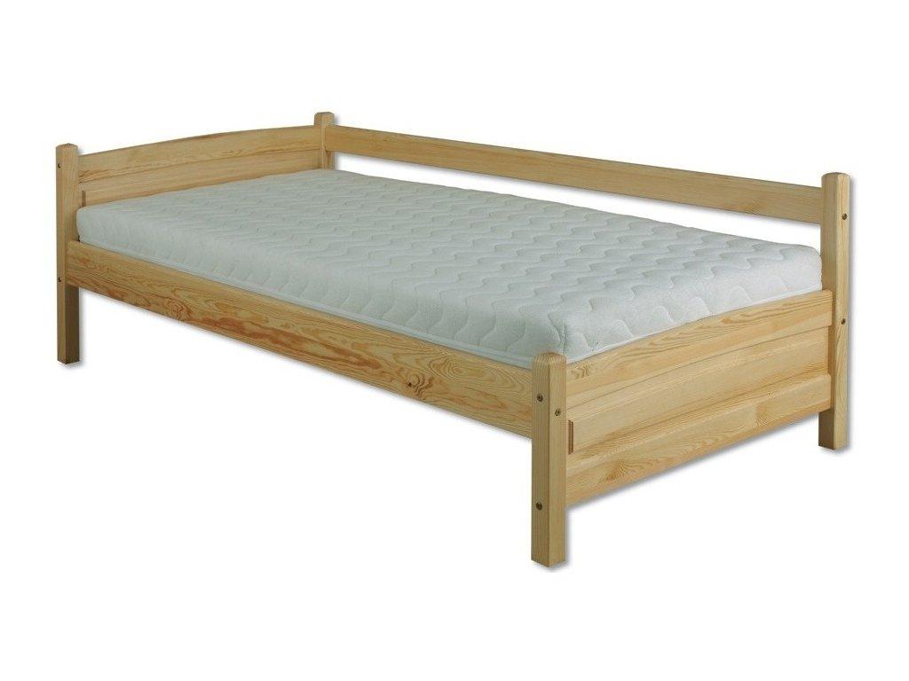 Masívna drevená posteľ so zábranou 90x200 cm H133 borovica masív