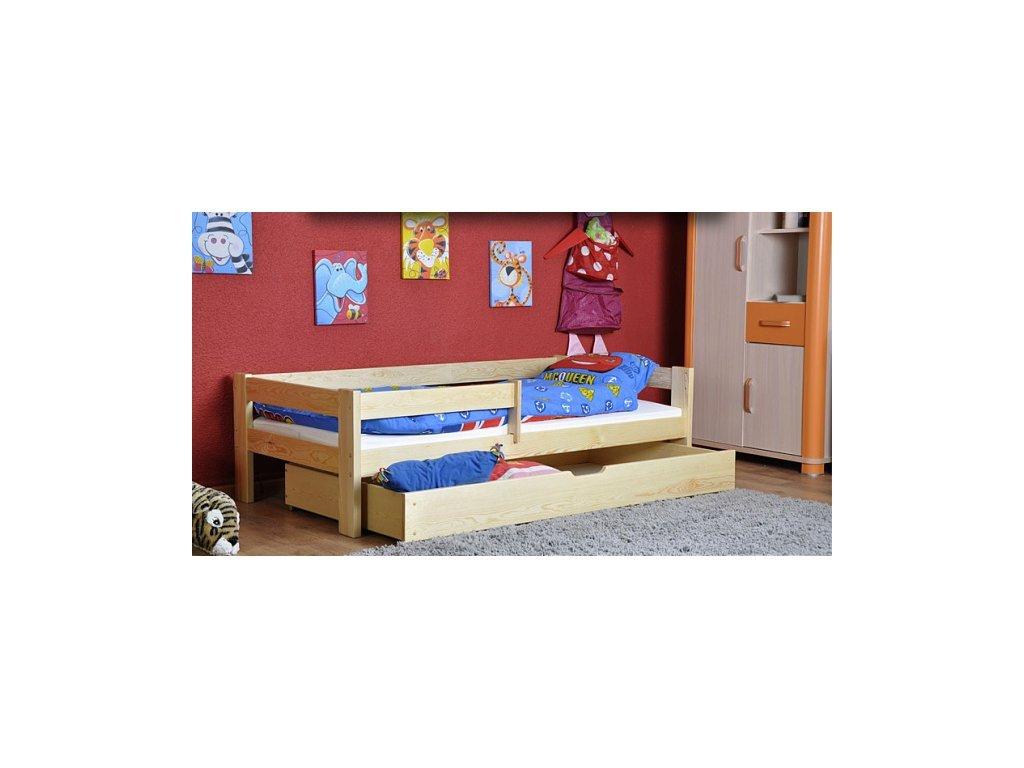 posteľ Lenka 90x200 cm s ohrádkou zabráňte borovica masív