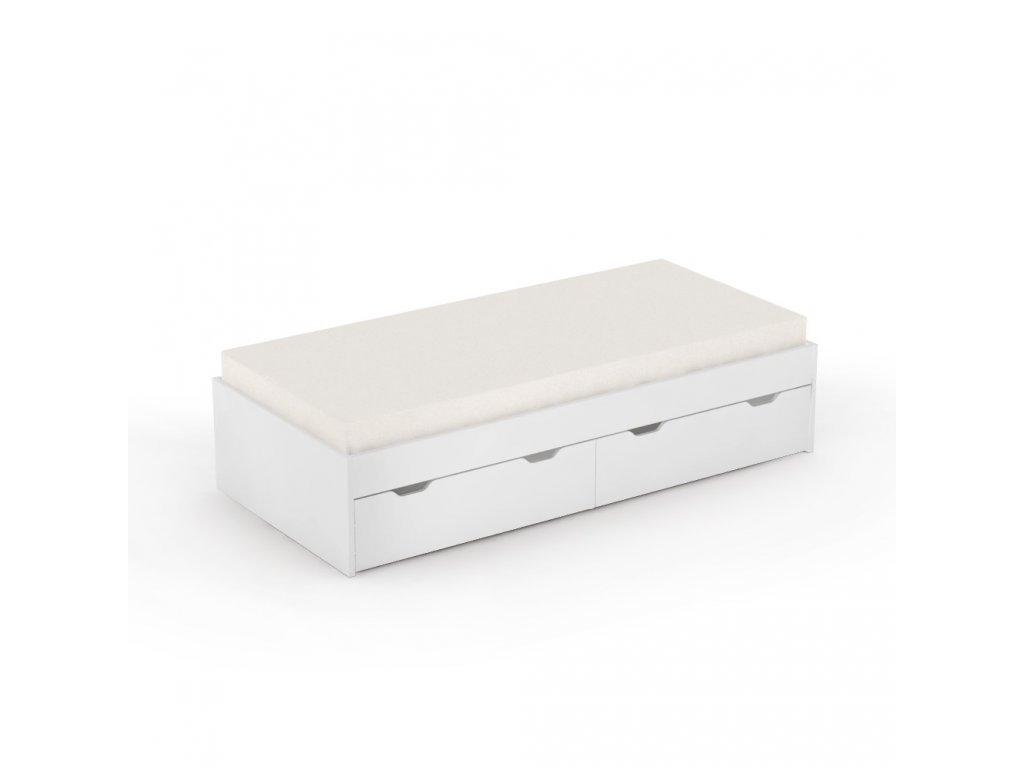 Posteľ Mista 90x200 cm biela s úložným priestorom