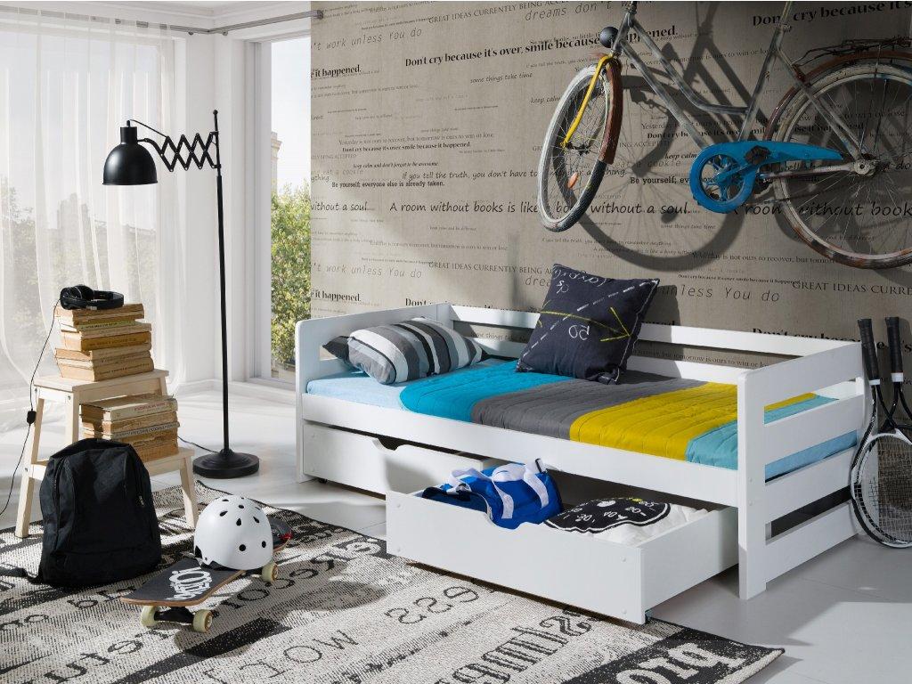 Drevená posteľ ERGO s úložným priestorom 90x200 cm borovica masív