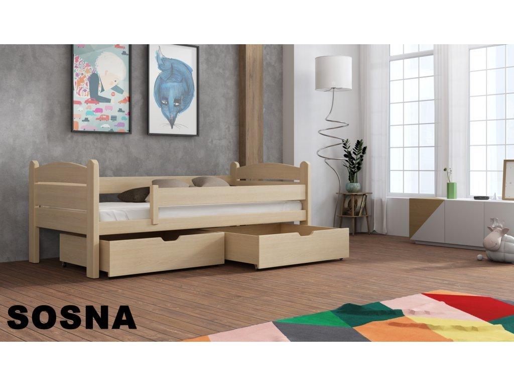 Drevená posteľ s úložným priestorom Matěj 90x200 borovice masív