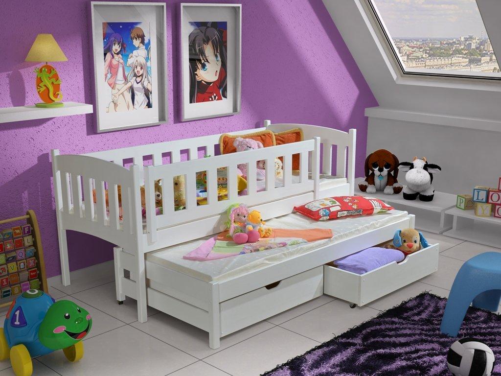 Drevená posteľ AMÁLKA 200x90cm s prístelkou a úložným priestorom so zábranou borovica masív