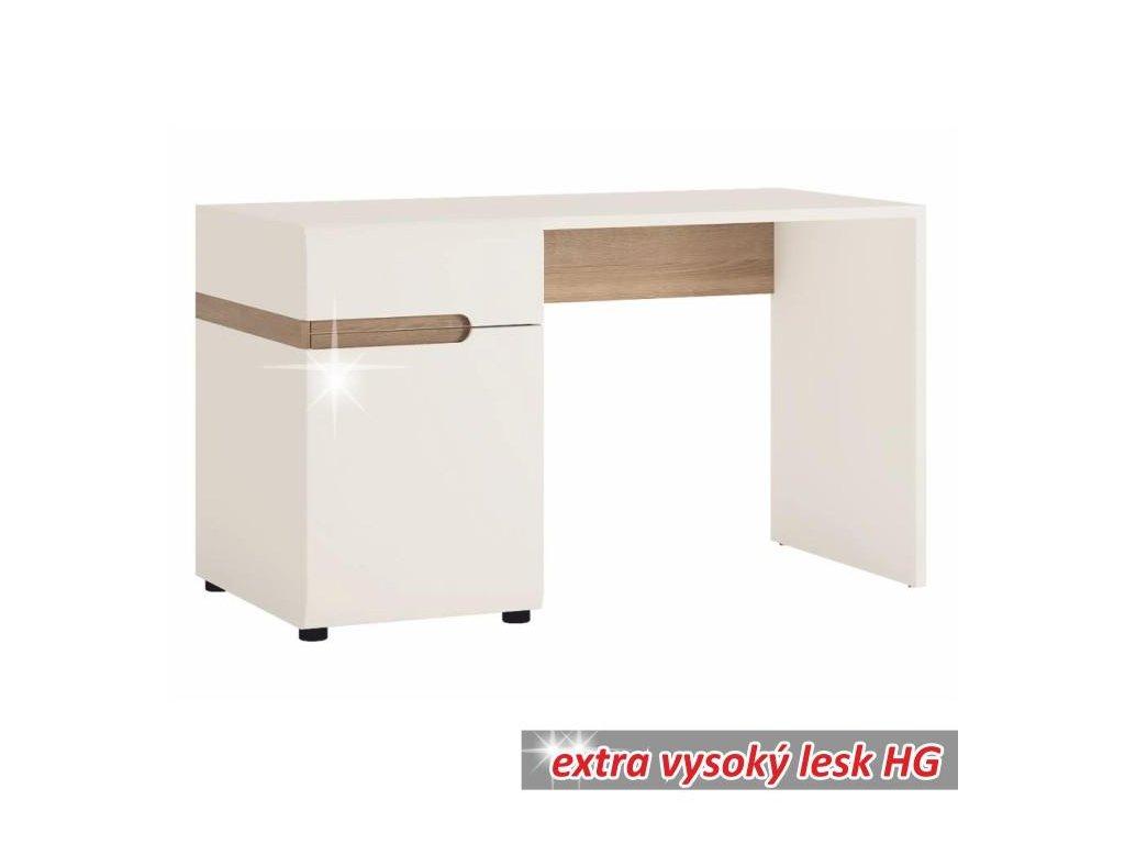 PC stôl, biela extra vysoký lesk HG / dub sonoma, LYNATET TYP 80