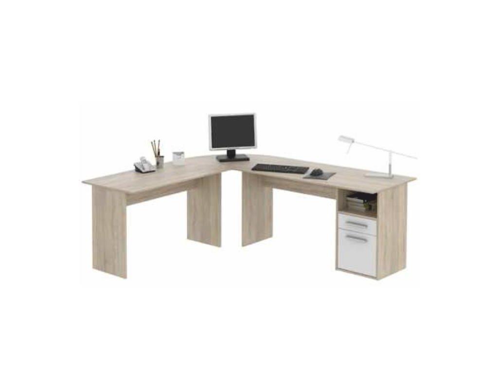 PC stôl - rohový, dub sonoma / biela, Maurus MA11