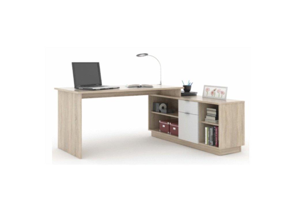 PC stôl multifunkčný Bentos biely / betón