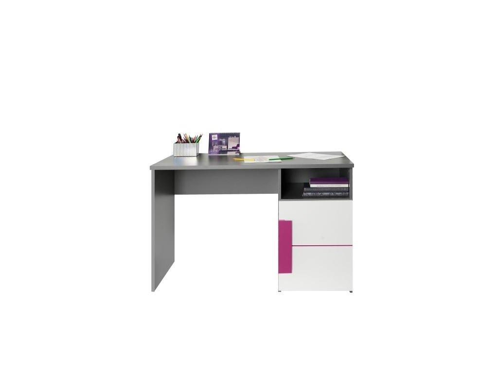 PC stôl, sivá / biela / fialová, lobom 21