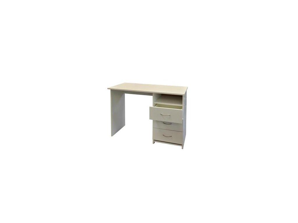 Písacie a Pc stôl I44 biely - 3 zásuvky