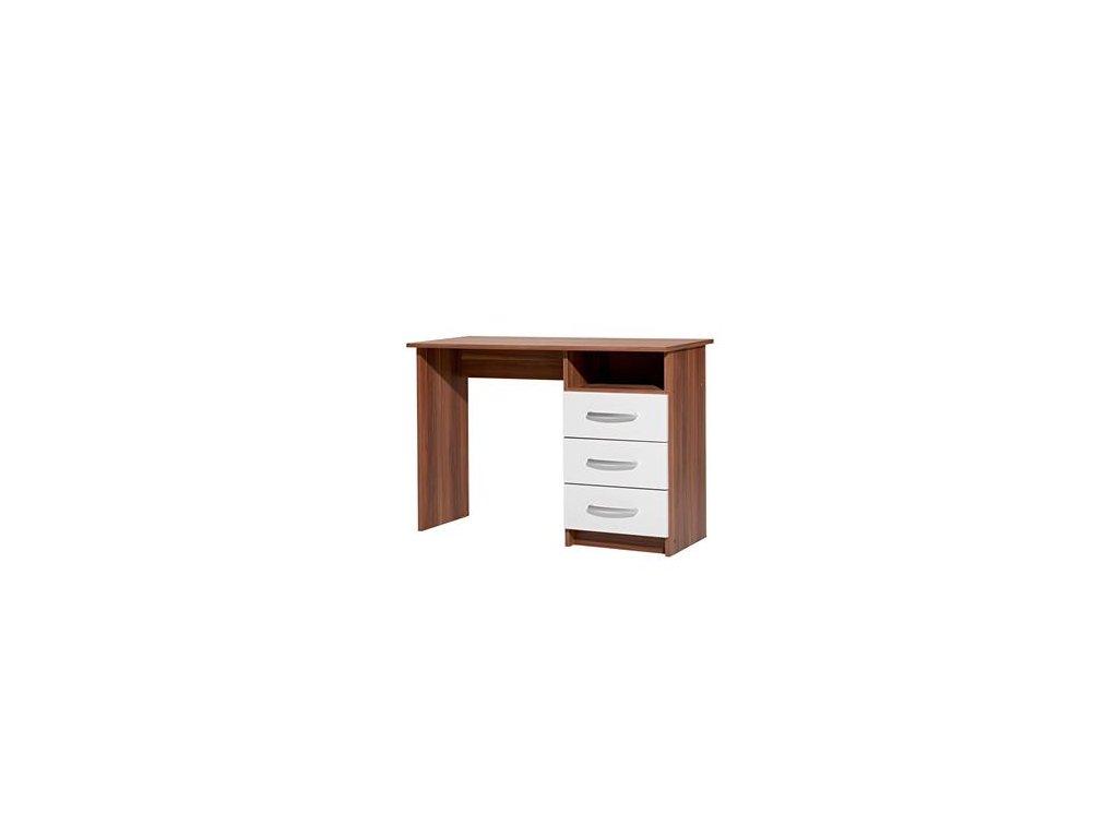 Písacie a Pc stôl I60044 orech / biela - 3 zásuvky