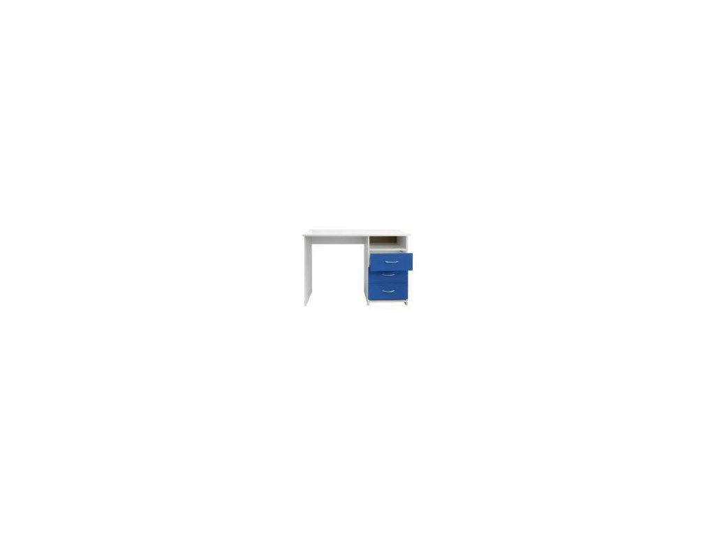 Písacie a Pc stôl I44 modro / biely - 3 zásuvky
