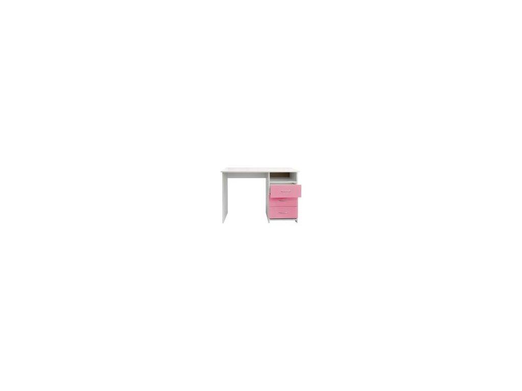 Písacie a Pc stôl I44 ružovo / biely -3 zásuvky
